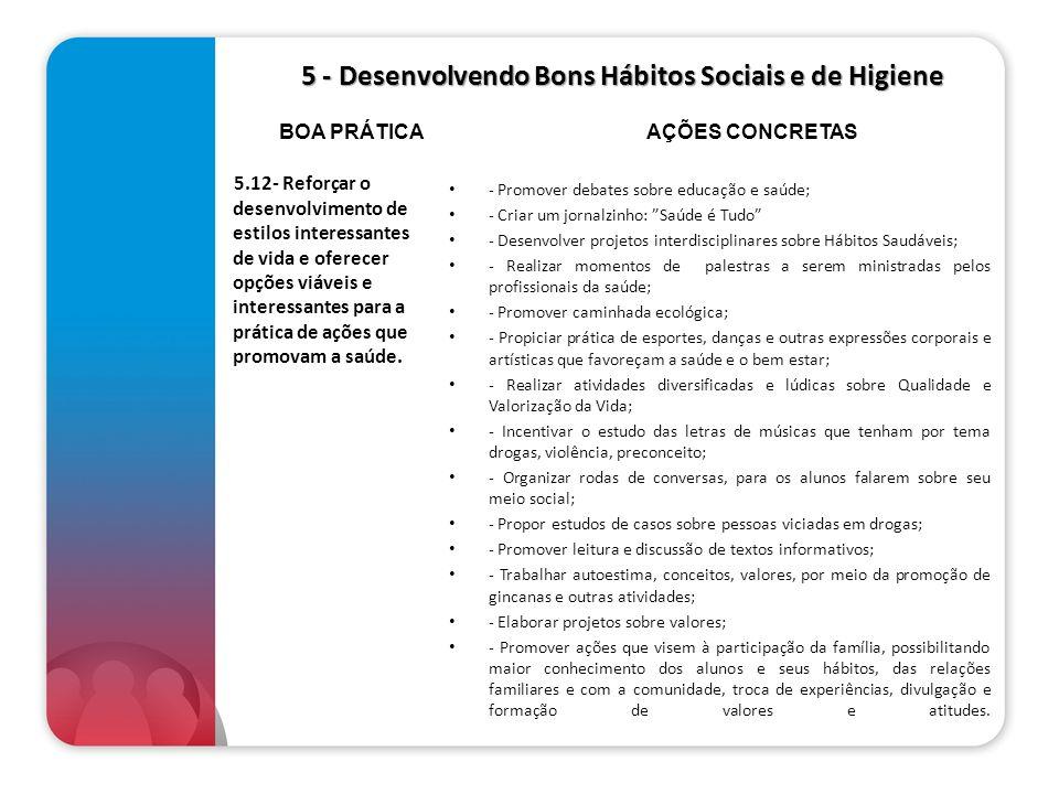 5 - Desenvolvendo Bons Hábitos Sociais e de Higiene 5 - Desenvolvendo Bons Hábitos Sociais e de Higiene 5.12- Reforçar o desenvolvimento de estilos in