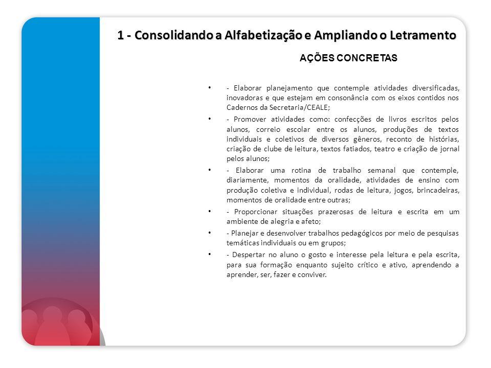 1 - Consolidando a Alfabetização e Ampliando o Letramento - Elaborar planejamento que contemple atividades diversificadas, inovadoras e que estejam em