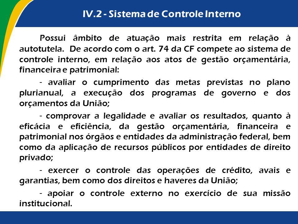 IV.2 - Sistema de Controle Interno Possui âmbito de atuação mais restrita em relação à autotutela. De acordo com o art. 74 da CF compete ao sistema de