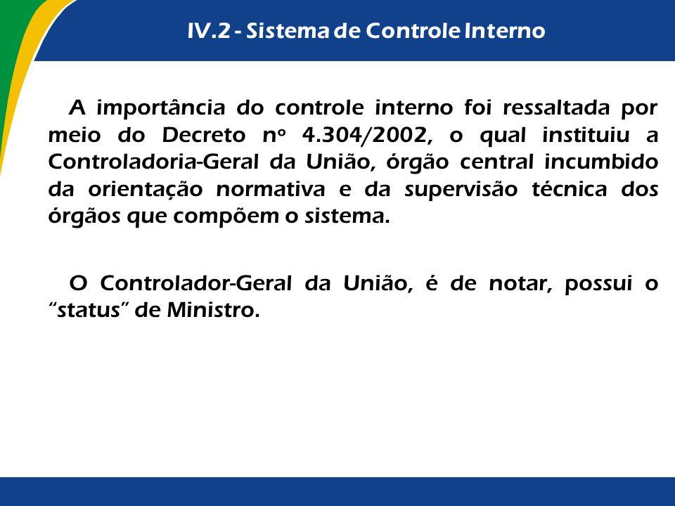 IV.2 - Sistema de Controle Interno A importância do controle interno foi ressaltada por meio do Decreto nº 4.304/2002, o qual instituiu a Controladori