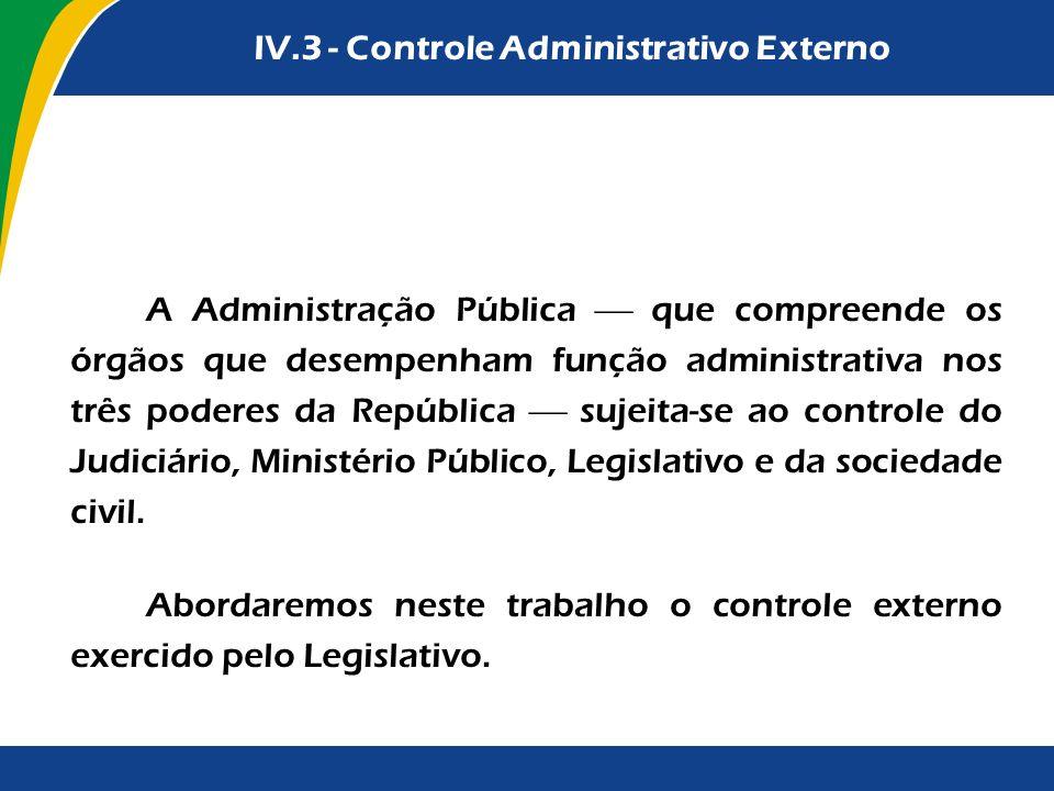 A Administração Pública que compreende os órgãos que desempenham função administrativa nos três poderes da República sujeita-se ao controle do Judiciá