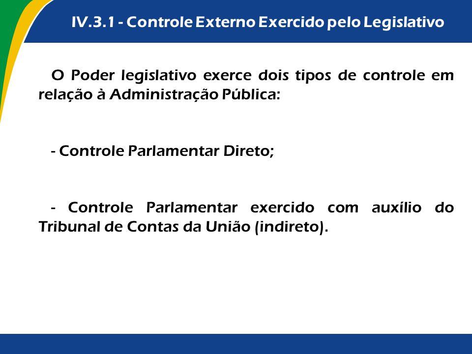 Formas tradicionais de contratação para os contratos IV.3.1 - Controle Externo Exercido pelo Legislativo O Poder legislativo exerce dois tipos de cont