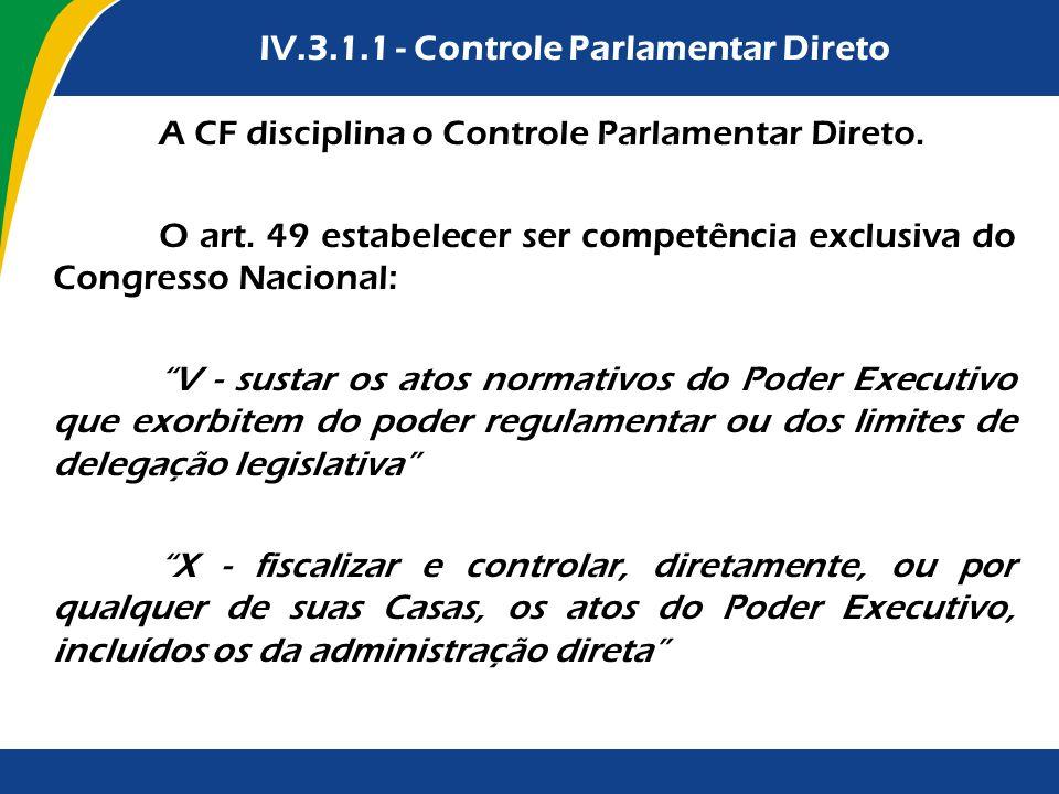 IV.3.2.1 - Controle Parlamentar DiretoIV.3.1.1 - Controle Parlamentar Direto A CF disciplina o Controle Parlamentar Direto. O art. 49 estabelecer ser