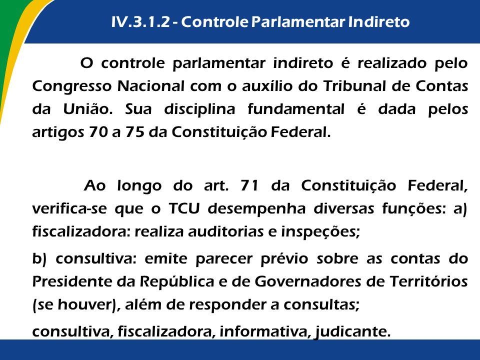IV.3.1.2 - Controle Parlamentar Indireto OO controle parlamentar indireto é realizado pelo Congresso Nacional com o auxílio do Tribunal de Contas da U