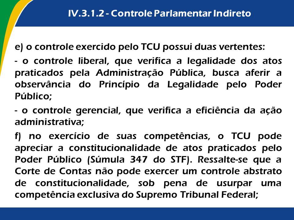 Vedações à celebração de PPP IV.3.1.2 - Controle Parlamentar Indireto e) o controle exercido pelo TCU possui duas vertentes: - o controle liberal, que