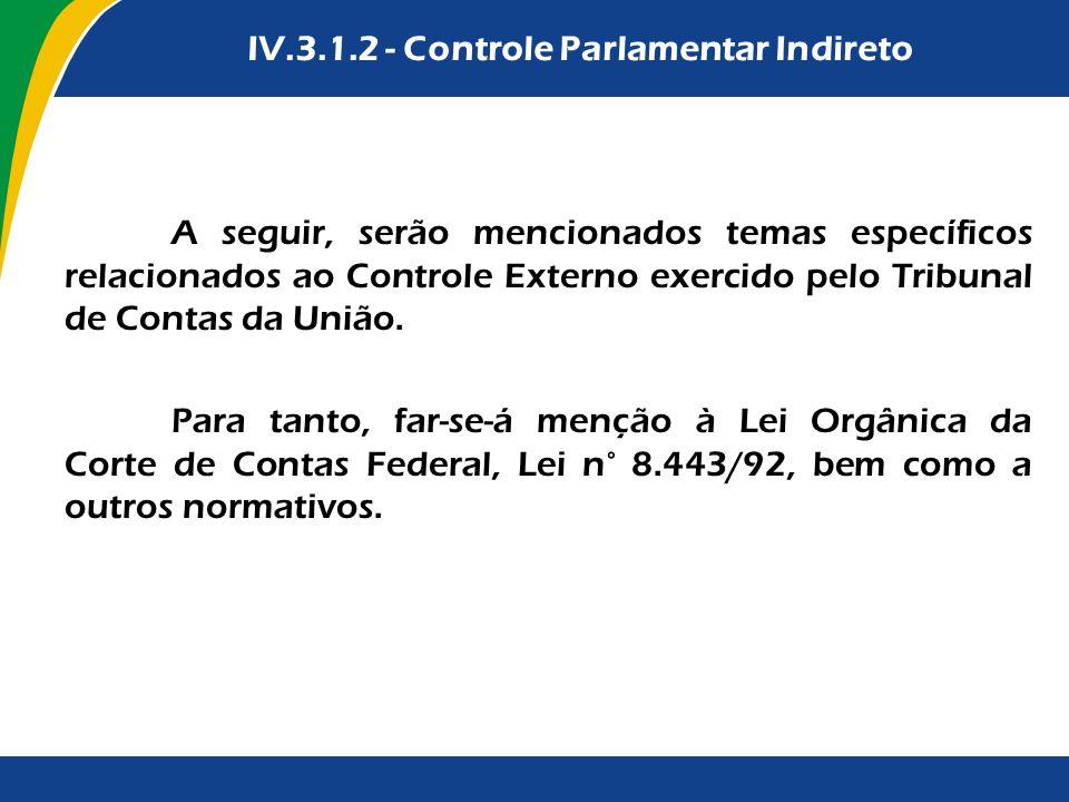 A seguir, serão mencionados temas específicos relacionados ao Controle Externo exercido pelo Tribunal de Contas da União. Para tanto, far-se-á menção