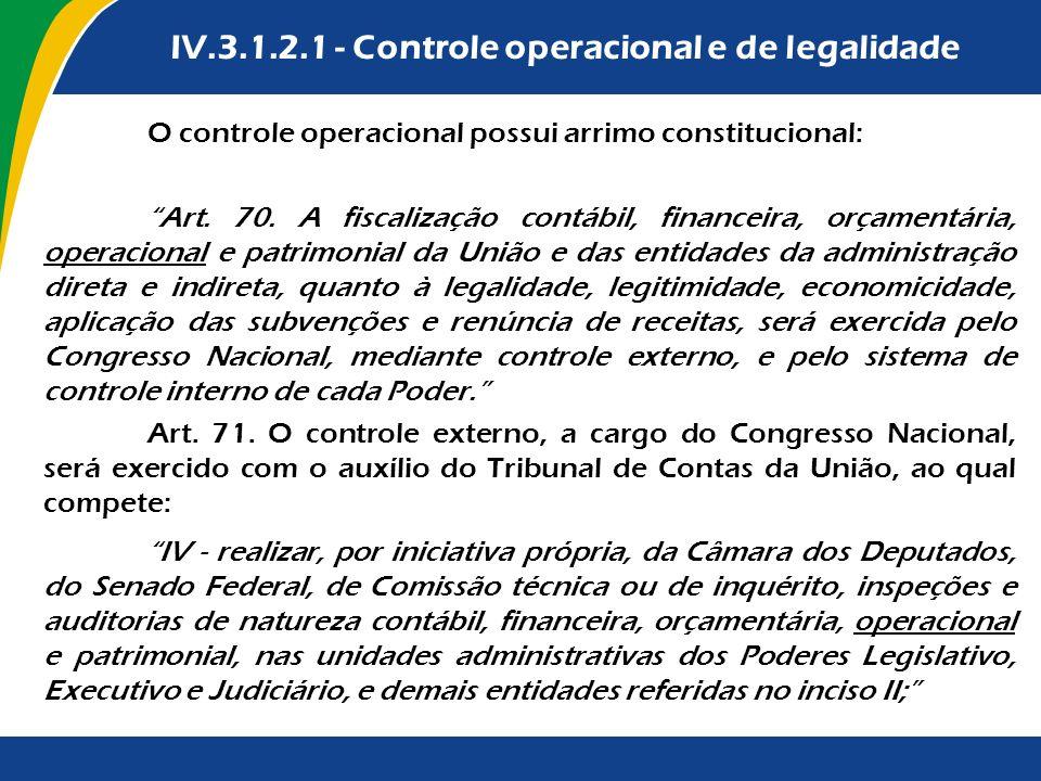 IV.3.1.2.1 - Controle operacional e de legalidade O controle operacional possui arrimo constitucional: Art. 70. A fiscalização contábil, financeira, o