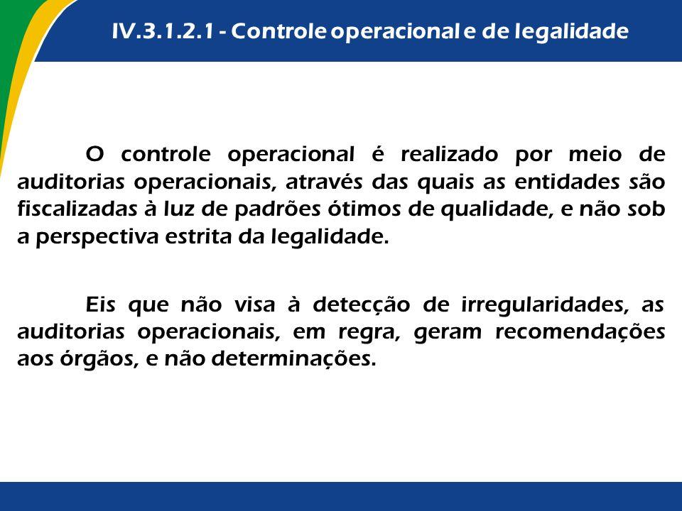 IV.3.1.2.1 - Controle operacional e de legalidade O controle operacional é realizado por meio de auditorias operacionais, através das quais as entidad