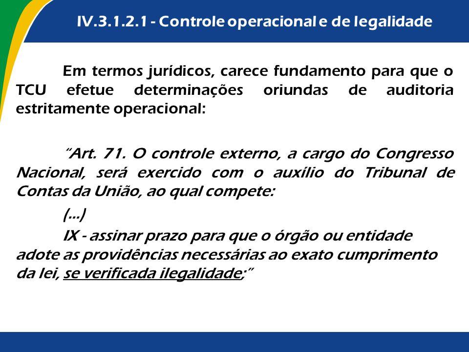 IV.3.1.2.1 - Controle operacional e de legalidade Em termos jurídicos, carece fundamento para que o TCU efetue determinações oriundas de auditoria est