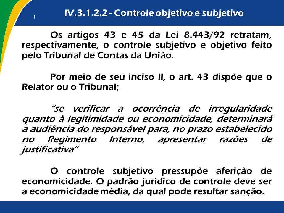 Os artigos 43 e 45 da Lei 8.443/92 retratam, respectivamente, o controle subjetivo e objetivo feito pelo Tribunal de Contas da União. Por meio de seu