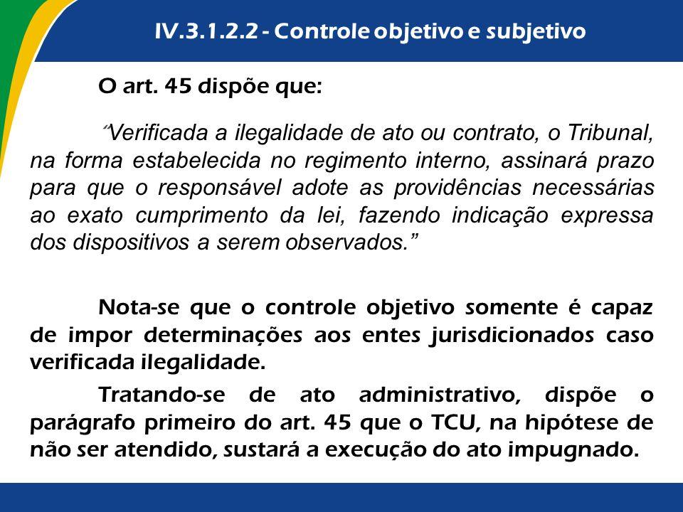 O art. 45 dispõe que: Verificada a ilegalidade de ato ou contrato, o Tribunal, na forma estabelecida no regimento interno, assinará prazo para que o r