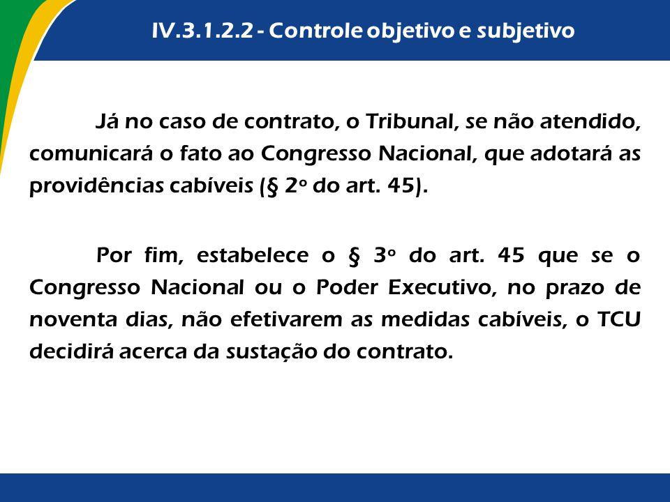 Já no caso de contrato, o Tribunal, se não atendido, comunicará o fato ao Congresso Nacional, que adotará as providências cabíveis (§ 2º do art. 45).