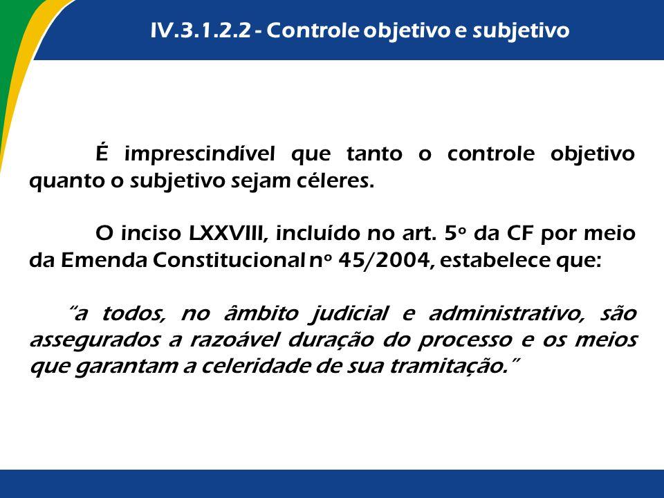 É imprescindível que tanto o controle objetivo quanto o subjetivo sejam céleres. O inciso LXXVIII, incluído no art. 5º da CF por meio da Emenda Consti