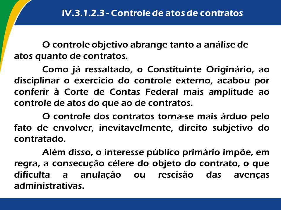 Terceira Parte IV.3.1.2.3 - Controle de atos de contratos O controle objetivo abrange tanto a análise de atos quanto de contratos. Como já ressaltado,