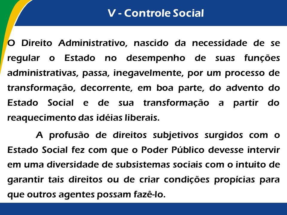 V - Controle Social O Direito Administrativo, nascido da necessidade de se regular o Estado no desempenho de suas funções administrativas, passa, ineg