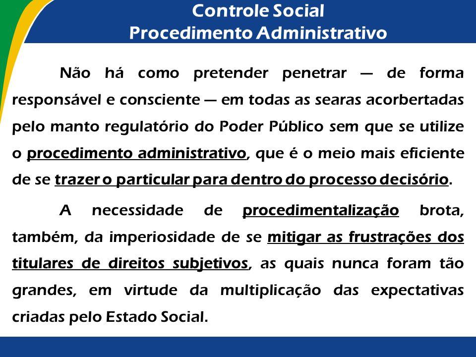 Controle Social Procedimento Administrativo Não há como pretender penetrar de forma responsável e consciente em todas as searas acorbertadas pelo mant