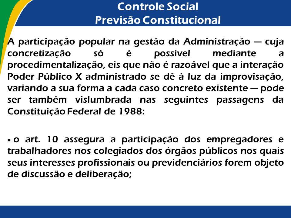 Controle Social Previsão Constitucional A participação popular na gestão da Administração cuja concretização só é possível mediante a procedimentaliza