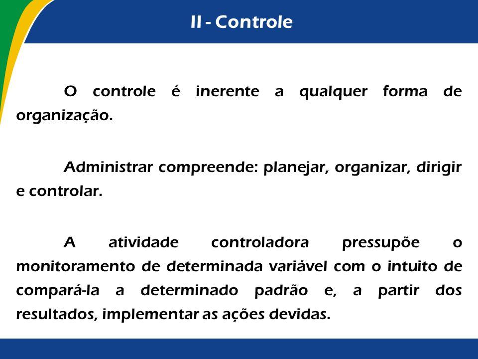 II - Controle O controle é inerente a qualquer forma de organização. Administrar compreende: planejar, organizar, dirigir e controlar. A atividade con