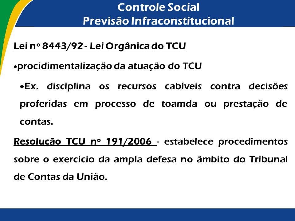 Controle Social Previsão Infraconstitucional Lei nº 8443/92 - Lei Orgânica do TCU procidimentalização da atuação do TCU Ex. disciplina os recursos cab