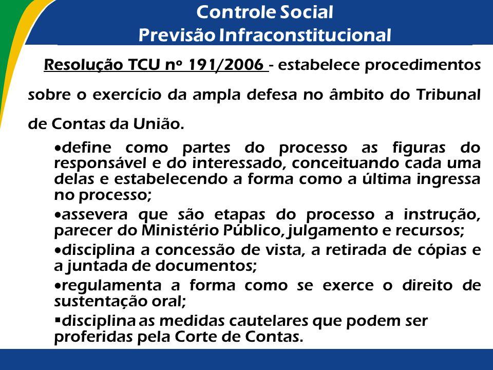 Controle Social Previsão Infraconstitucional Resolução TCU nº 191/2006 - estabelece procedimentos sobre o exercício da ampla defesa no âmbito do Tribu