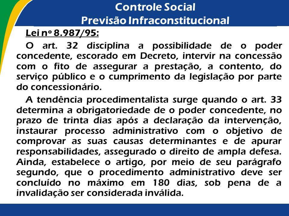 Controle Social Previsão Infraconstitucional Lei nº 8.987/95: O art. 32 disciplina a possibilidade de o poder concedente, escorado em Decreto, intervi