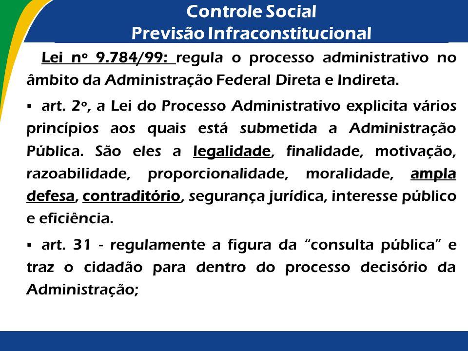 Controle Social Previsão Infraconstitucional Lei nº 9.784/99: regula o processo administrativo no âmbito da Administração Federal Direta e Indireta. a