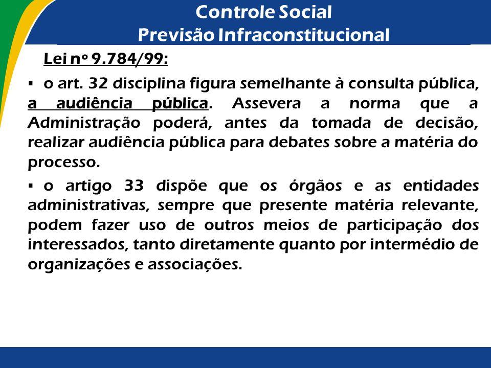 Controle Social Previsão Infraconstitucional Lei nº 9.784/99: o art. 32 disciplina figura semelhante à consulta pública, a audiência pública. Assevera