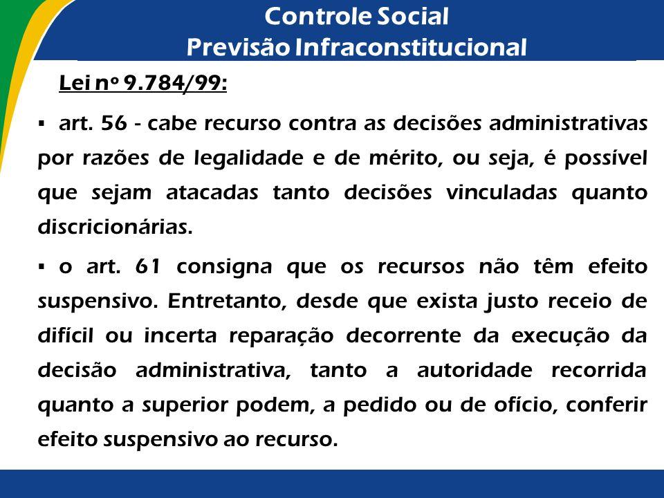 Controle Social Previsão Infraconstitucional Lei nº 9.784/99: art. 56 - cabe recurso contra as decisões administrativas por razões de legalidade e de