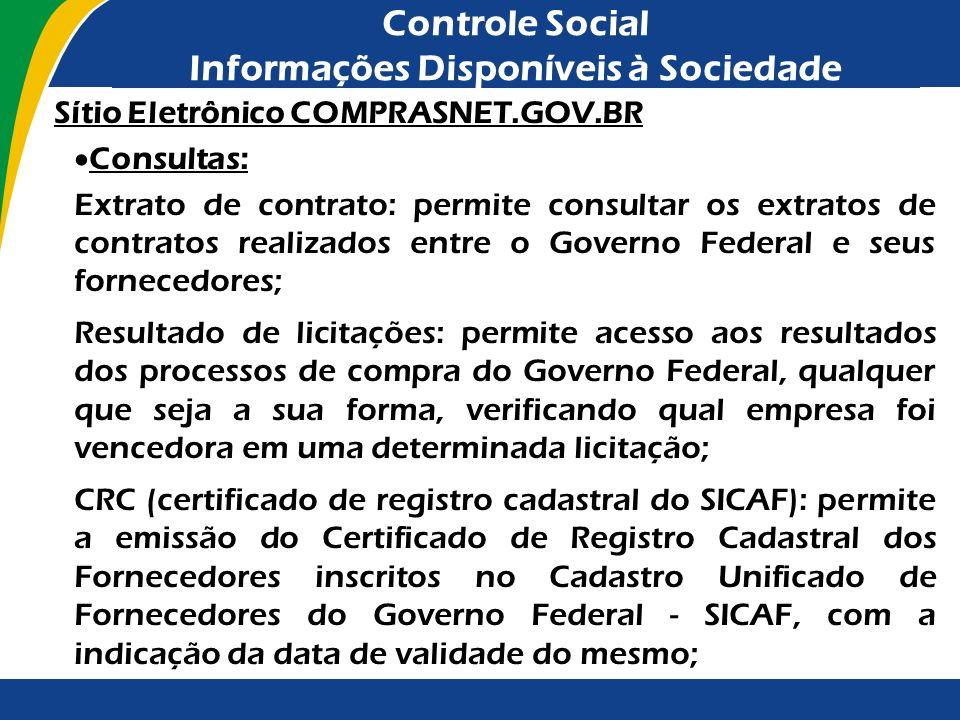 Controle Social Informações Disponíveis à Sociedade Sítio Eletrônico COMPRASNET.GOV.BR Consultas: Extrato de contrato: permite consultar os extratos d