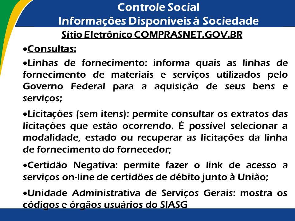 Controle Social Informações Disponíveis à Sociedade Sítio Eletrônico COMPRASNET.GOV.BR Consultas: Linhas de fornecimento: informa quais as linhas de f