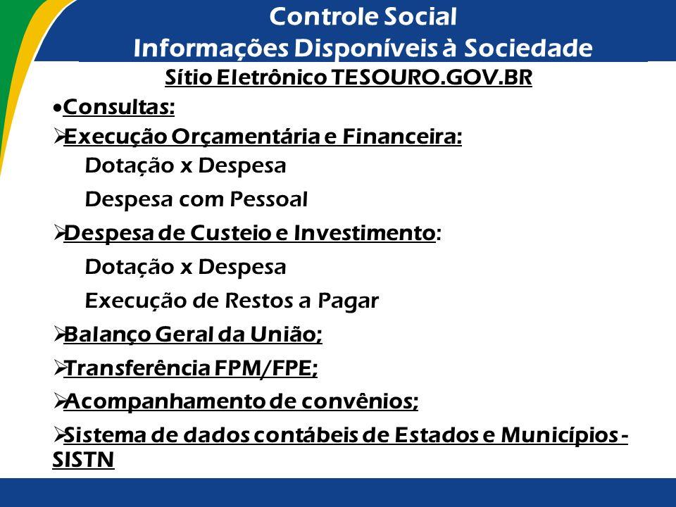 Controle Social Informações Disponíveis à Sociedade Sítio Eletrônico TESOURO.GOV.BR Consultas: Execução Orçamentária e Financeira: Dotação x Despesa D