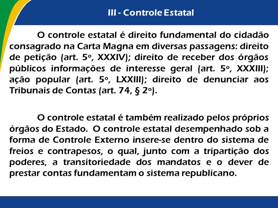 III - Controle Estatal O controle estatal é direito fundamental do cidadão consagrado na Carta Magna em diversas passagens: direito de petição (art. 5