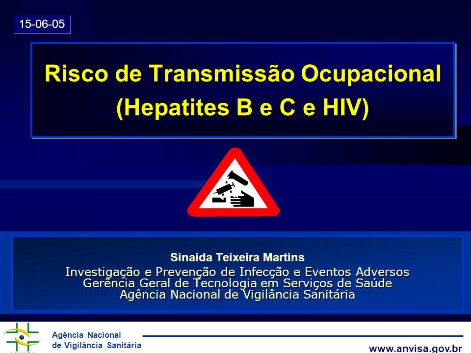 Agência Nacional de Vigilância Sanitária www.anvisa.gov.br ACIDENTES COM MATERIAL BIOLÓGICO l Após acidentes percutâneos com agulhas com lúmen: 1,8% (0 a 7%) l após exposição de mucosas: < 1% l após acidentes com agulhas sem lúmen (?) Guideline CDC, MMWR 2001;50(RR-11) Hepatite pelo vírus C