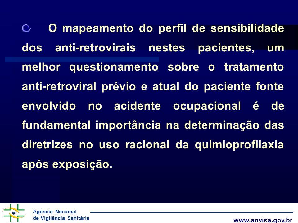 Agência Nacional de Vigilância Sanitária www.anvisa.gov.br O mapeamento do perfil de sensibilidade dos anti-retrovirais nestes pacientes, um melhor qu