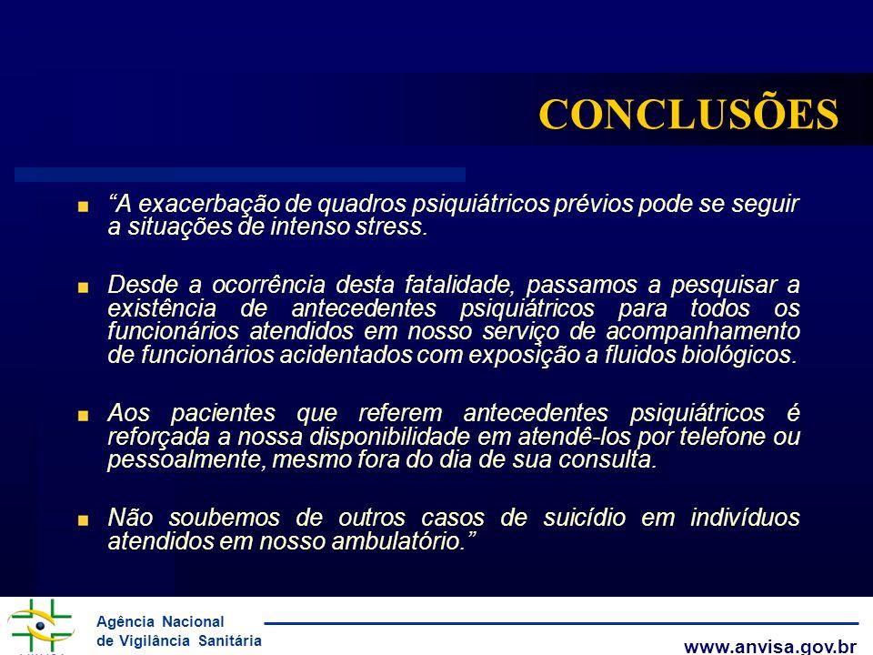 Agência Nacional de Vigilância Sanitária www.anvisa.gov.br CONCLUSÕES A exacerbação de quadros psiquiátricos prévios pode se seguir a situações de int
