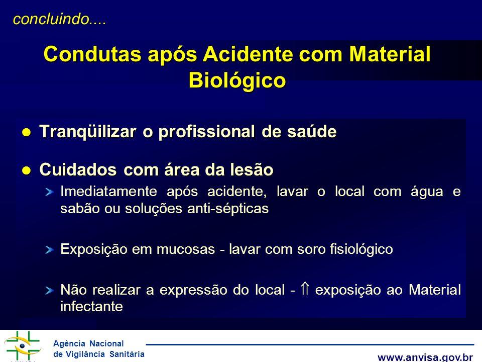 Agência Nacional de Vigilância Sanitária www.anvisa.gov.br l Tranqüilizar o profissional de saúde l Cuidados com área da lesão Imediatamente após acid