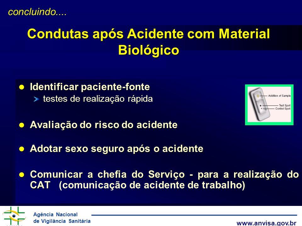 Agência Nacional de Vigilância Sanitária www.anvisa.gov.br l Identificar paciente-fonte testes de realização rápida l Avaliação do risco do acidente l
