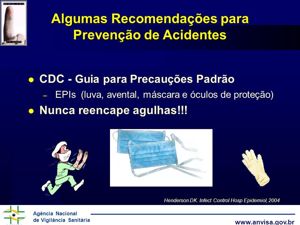 Agência Nacional de Vigilância Sanitária www.anvisa.gov.br Algumas Recomendações para Prevenção de Acidentes CDC - Guia para Precauções Padrão – EPIs