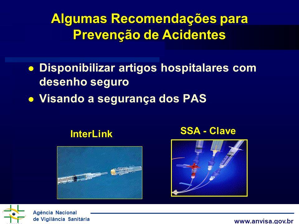 Agência Nacional de Vigilância Sanitária www.anvisa.gov.br Algumas Recomendações para Prevenção de Acidentes Disponibilizar artigos hospitalares com d