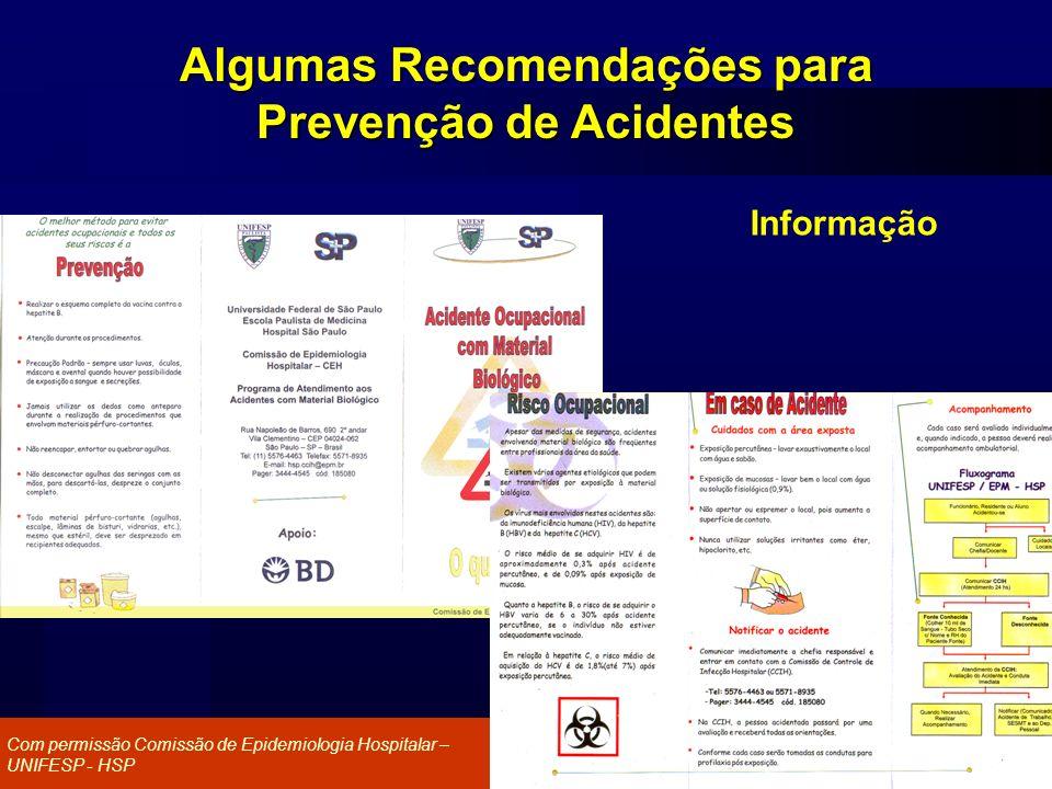 Agência Nacional de Vigilância Sanitária www.anvisa.gov.br Algumas Recomendações para Prevenção de Acidentes Informação Com permissão Comissão de Epid