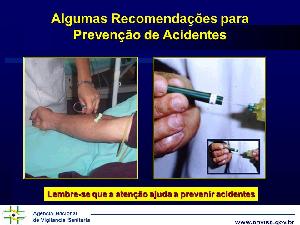 Agência Nacional de Vigilância Sanitária www.anvisa.gov.br Algumas Recomendações para Prevenção de Acidentes Lembre-se que a atenção ajuda a prevenir
