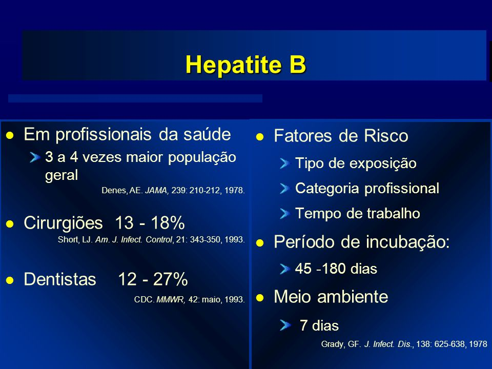 Agência Nacional de Vigilância Sanitária www.anvisa.gov.br Hepatite B l Fatores de Risco Tipo de exposição Categoria profissional Tempo de trabalho l