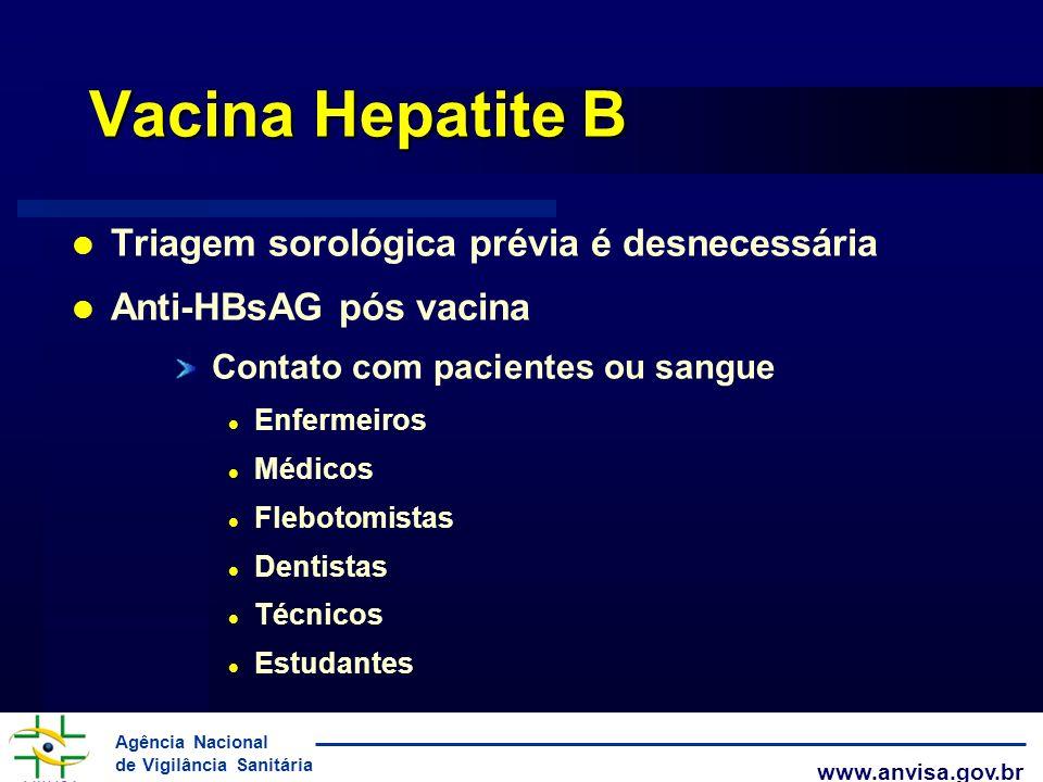 Agência Nacional de Vigilância Sanitária www.anvisa.gov.br Vacina Hepatite B Triagem sorológica prévia é desnecessária Anti-HBsAG pós vacina Contato c