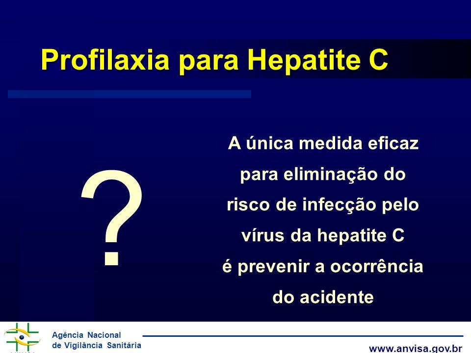 Agência Nacional de Vigilância Sanitária www.anvisa.gov.br Profilaxia para Hepatite C ? A única medida eficaz para eliminação do risco de infecção pel