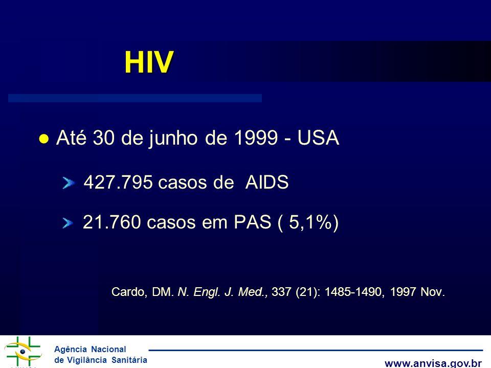 Agência Nacional de Vigilância Sanitária www.anvisa.gov.br HIV Até 30 de junho de 1999 - USA 427.795 casos de AIDS 21.760 casos em PAS ( 5,1%) Cardo,
