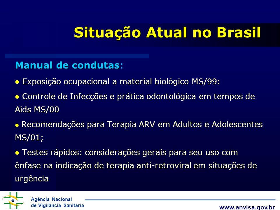 Agência Nacional de Vigilância Sanitária www.anvisa.gov.br Situação Atual no Brasil Manual de condutas Manual de condutas: l Exposição ocupacional a m