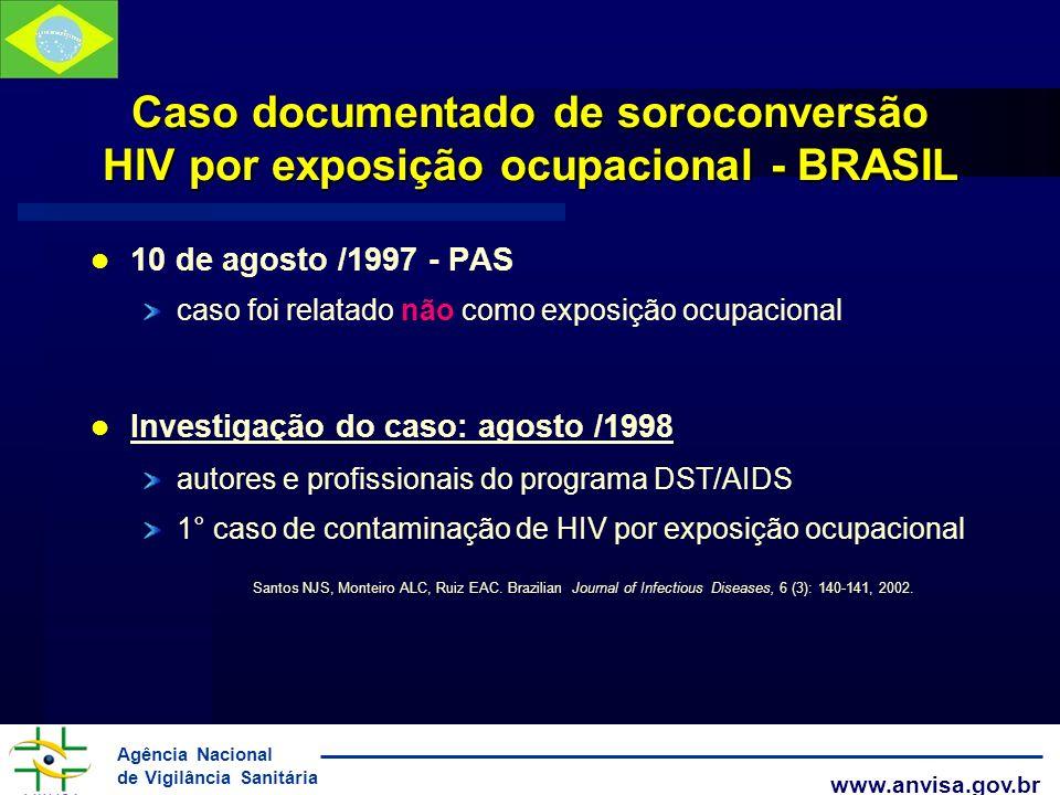Agência Nacional de Vigilância Sanitária www.anvisa.gov.br Caso documentado de soroconversão HIV por exposição ocupacional - BRASIL 10 de agosto /1997
