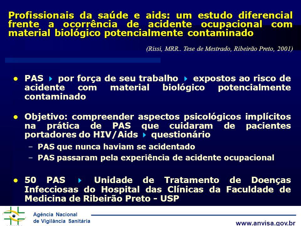 Agência Nacional de Vigilância Sanitária www.anvisa.gov.br Profissionais da saúde e aids: um estudo diferencial frente a ocorrência de acidente ocupac