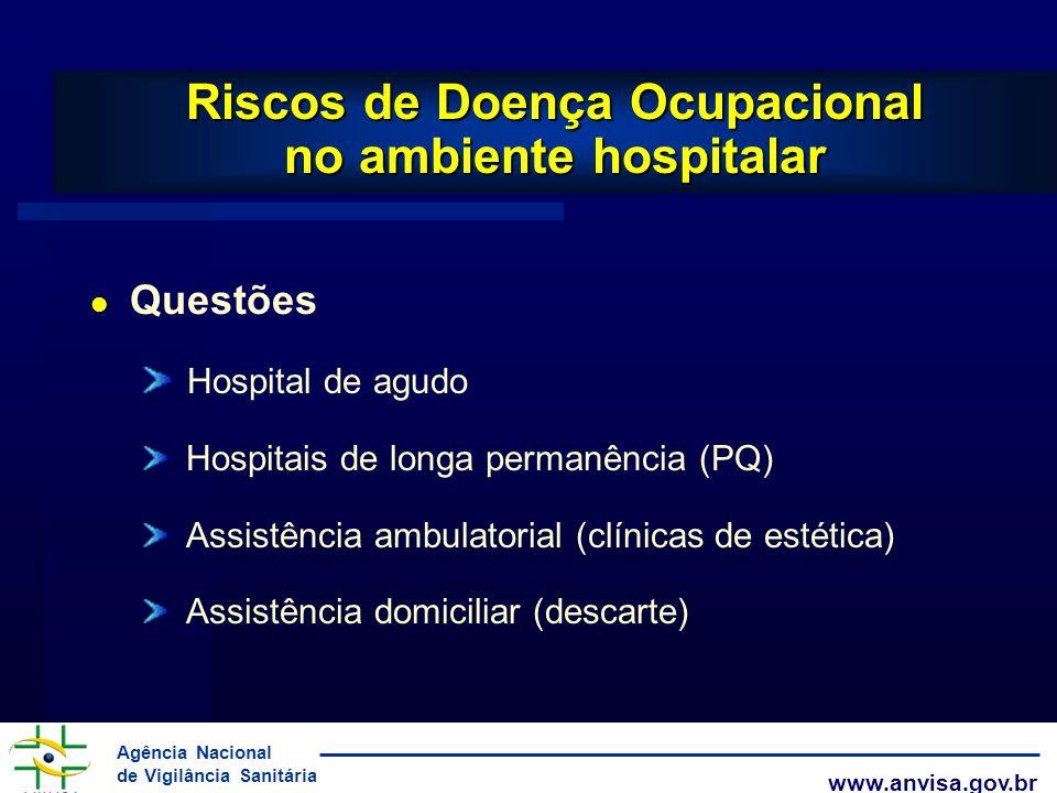 Agência Nacional de Vigilância Sanitária www.anvisa.gov.br l Questões Hospital de agudo Hospitais de longa permanência (PQ) Assistência ambulatorial (