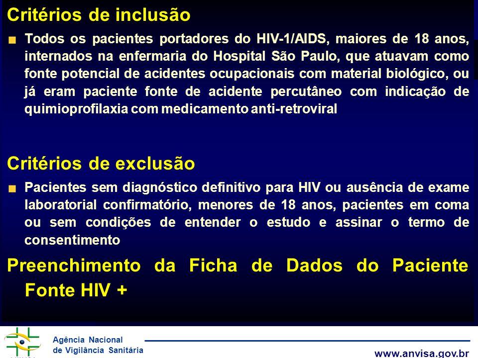 Agência Nacional de Vigilância Sanitária www.anvisa.gov.br Critérios de inclusão Todos os pacientes portadores do HIV-1/AIDS, maiores de 18 anos, inte
